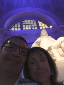 Michele and I in front of the statute of Ben Franklin as we look forward to the IMAX movie and compare how this relates to Digital Transformation